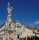 The main square of Baden with the pest monument and the city hall Baden Lower Austria