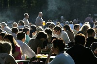 Munich, DEU, 05. Oct. 2005 - People join the autumn sun at the famous beer garden namend Chinesischer Turm in Munich