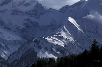 Snow covered mountain landscape at Nebelhorn; near Oberstdorf, Allgäu, Bavaria, Germany
