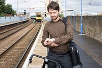 Man at train station