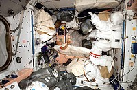 ISS astronaut sleeping, Expedition 16. NASA astronaut Daniel Tani, the Expedition 16 flight engineer, sleeping in his sleeping bag in the Unity node o...