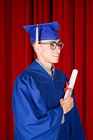 Boy graduating high school