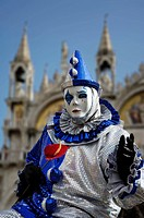 Harlekin mask at carneval in Venice, Italy