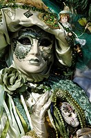 Portrait, green mask at carneval in Venice, Italy