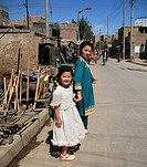 Uyghur kids on the craftsman street, old city of Kashgar, Xinjiang