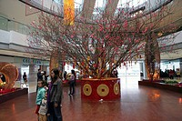 A peach tree decoration at 2IFC shopping mall, Hong Kong