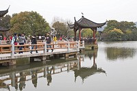 Lake in the lake, Santanyinyue 3 pools mirroring the moon, West Lake, Hangzhou, China