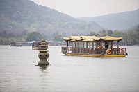 Excursion boat, Lake in the lake, Santanyinyue at West Lake, Hangzhou, China