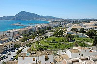 View from Altea to the harbour and L'Albir with the skyline of Benidom, Costa Blanca, Spain