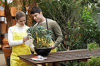 Female and male florist watering plant