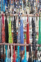 Close Up of African Beaded necklaces. Grahamstown, Eastern Cape Province, South Africa