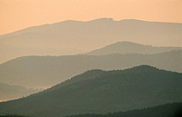 View on Bavarian forest from the Lusen at dawn, Bavaria, Germany