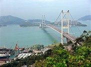 Overlooking Tsing Ma Bridge and Ma Wan from Tsing Yi Island, Hong Kong