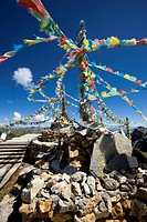 Tibetan stupas on top of Shika snow mountain, Blue Moon Valley, Shangrila, China