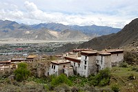 View onto Drepung Monastery and the surrounding Lhasa Tibet China