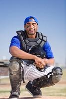 Portrait of smiling baseball catcher