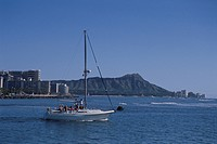 Diamond Head And A Sailboat