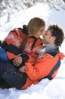 Affectionate couple in the snow