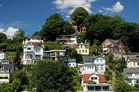 Residential houses at Süllberg Hill at Blankenese district of Hamburg, Germany
