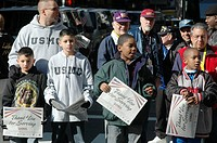 New York City USA, children at the Veterans Day parade