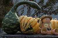 Fall stillife with figures and pumpkin