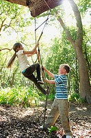 Children Climbing a Rope Ladder
