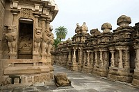The Kailasanatha temple in Kanchipuram near Chennai, Tamil Nadu, India. It was built by Pallava King Narasimhavarman II (Rajasimhan) and his son Mahen...