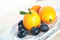 Chinese tangerines and blueberries