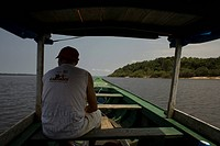 Boat Navigating, Cuieiras River, Manaus, Amazônia, Amazonas, Brazil