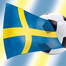 Football with Swedish flag