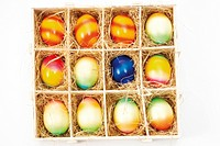 A box with painted Easter eggs
