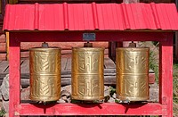 Mongolian Buddhist prayer wheels held together with pop rivets, Tufhken monastery, north central Mongolia