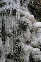 Iced-over stream, ice formations, Hoher Westerwald region, Hesse, Germany, Europe