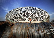 Massive steel coils beside the Bird´s Nest under construction, Beijing, China