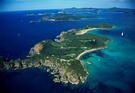 Aerial view of Moturua Island Bay of Islands New Zealand