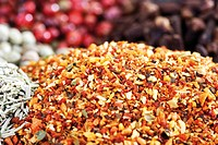 Spices: chili pepper and assorted peppercorns, image-filling