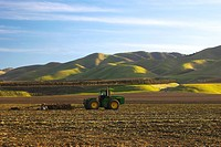 Agriculture _ A John Deere tractor and field implement disk a recently harvested field in preparation for planting the next crop / CA _ Salinas Valley...