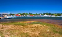 Panoramic of boats in North Rustico Harbour, Prince Edward Island, Canada