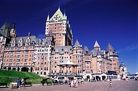 Promenade in front of Chateau Frontenac hotel, Quebec City, Quebec, Canada. Landmark, historic hotel