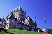 Low angle view of Chateau Frontenac hotel, Quebec City, Quebec, Canada. Landmark, historic hotel