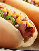 Grilled Hot Dog with Mustard, Jalapeno, Red Onion and Pickles