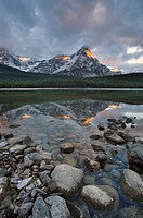 Mount Chephren reflected in Upper Waterfowl Lake, Banff National Park, Alberta, Canada