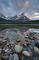 Mount Chephren reflected in Upper Waterfowl Lake, Banff National Park, Alberta, Canada