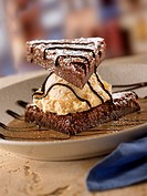 Brownie Ice Cream Sandwich with Chocolate Drizzles