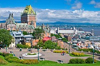 Cityscape of Old Quebec City with Chateau Frontenac in the distance and Cap Diamant park in the foreground