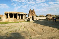 The Stone chariot and the Vijayavittala Temple tower in Hampi, karnataka. The construction of Vittala temple started during the reign of King Krishna ...