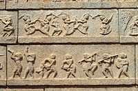 Sculptures on the outer wall of the Ramachandra temple  in Hampi, Karnataka.Ramachandra temple, also called Hazara Rama (´One thousand Ramas´), was bu...