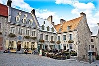 Place Royale in historic Old Quebec where Samuel de Champlain founded Quebec in 1608, Quebec City, Quebec, Canada