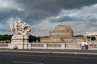 Vittorio Emanuele II. Bridge crossing Tiber river to St. Angelo Castle, Rome, Lazio, Italy