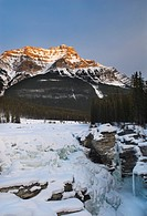 Athabasca Falls and Mount Kerkeslin, Jasper National Park, Alberta, Canada